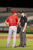 AZL Angels manager Dave Stapleton (22) argues his case with field umpire Nathan Diederich during the game against the AZL White Sox on August 14, 2017 at Diablo Stadium in Tempe, Arizona. AZL Angels defeated the AZL White Sox 3-2. (Zachary Lucy/Four Seam Images)