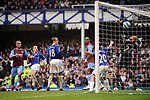 Gabriel Agbonlahor scores the equalising goal for Aston Villa during the Premier League match at Goodison Park  Stadium, Liverpool. Picture date 27th April 2008. Picture credit should read: Simon Bellis/Sportimage