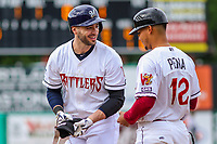 Milwaukee Brewers outfielder Ryan Braun (1) with first base coach Fidel Pena (12) during a rehab appearance with the Wisconsin Timber Rattlers in game one of a Midwest League doubleheader against the Kane County Cougars on June 23, 2017 at Fox Cities Stadium in Appleton, Wisconsin.  Kane County defeated Wisconsin 4-3. (Brad Krause/Krause Sports Photography)
