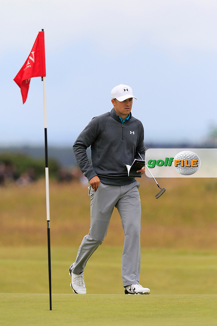 Jordan Spieth (USA) on the 14th green during Sunday's Round 3 of the 144th Open Championship, St Andrews Old Course, St Andrews, Fife, Scotland. 19/07/2015.<br /> Picture Eoin Clarke, www.golffile.ie