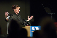 Alaska Governor Sarah Palin speaks to supporters at a political rally for her and John McCain on September 13, 2008 at the Dena'ina Civic & Convention Center in Anchorage, Alaska.