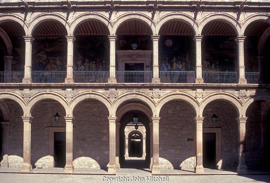 Arcades in the interior courtyard of the Palacio de Gobierno or Governor's Palace in Morelia, Michoacan, Mexico
