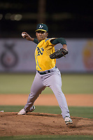 AZL Athletics relief pitcher Malik Jones (50) delivers a pitch during an Arizona League game against the AZL Angels at Tempe Diablo Stadium on June 26, 2018 in Tempe, Arizona. The AZL Athletics defeated the AZL Angels 7-1. (Zachary Lucy/Four Seam Images)