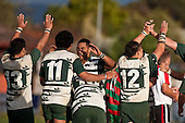 Manurewa players celebrate the win after spending the last few minutes of the game having to defend their line. Counties Manukau Premier Club Rugby game between Wauku & Manurewa played at Waiuku on Saturday June 6th. Manurewa won 36 - 31 after leading 14 - 12 at halftime.