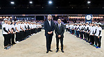 Christophe Ameeuw, CEO of EEM, and Hong Kong Equestrian Federation Michael Lee pose for a photo with the volunteers after the Longines Grand Prix during the Longines Masters of Hong Kong at AsiaWorld-Expo on 11 February 2018, in Hong Kong, Hong Kong. Photo by Diego Gonzalez / Power Sport Images