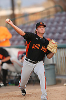 Shaun Anderson (22) of the San Jose Giants throws in the bullpen before pitching against the Inland Empire 66ers at LoanMart Field on August 30, 2017 in San Bernardino California. San Jose defeated Inland Empire, 3-0. (Larry Goren/Four Seam Images)
