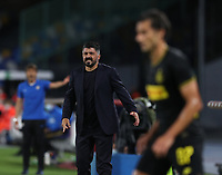 13th June 2020; Stadio San Paolo, Naples, Campania, Italy; Coppa Italia Football, Napoli versus Inter Milan; Gennaro Gattuso coach of Napoli winces as he sees a challenge come in on one of his players