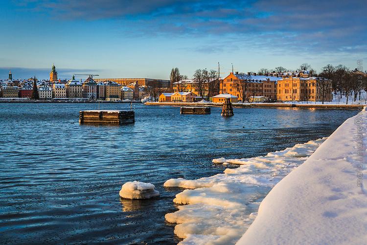 Vinter is och snö Skeppsholmen i Stockholm