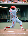 CIRCA 1976:  Dick Allen #15 of the Philadelphia Phillies at bat during a game from his 1976 season with the Philadelphia Phillies. Dick Allen played for 15 years with 5 different teams. He was 7-time All-Star and was the 1972 American League MVP.(Photo by: 1976 : SportPics : Dick Allen
