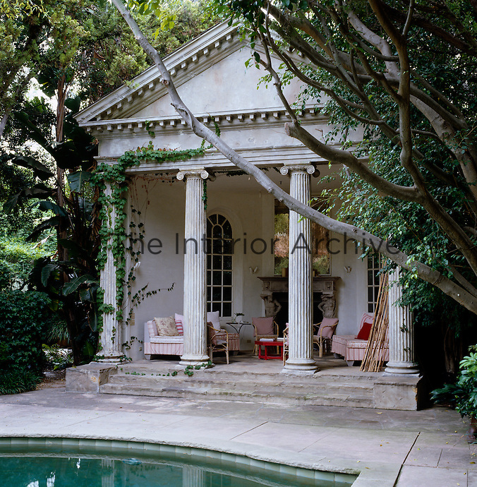 The poolside pavilion is modelled on the 16th century Palladian portico of the Villa Chiericati in northern Italy