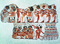 Egyptian Tomb Paintings:  Entertainment at a banquet, c. 1400 BC.  Trustees of the British Museum.  Reference only.