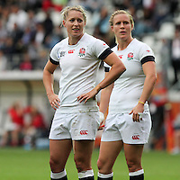 Natasha Hunt and Danielle Waterman wait for a TMO decision on wether Natasha Hunt scored a try. WRWC England v Canada, World Cup Final at Stade Jean Bouin, Avenue du Général Sarrail, Paris, France, on 17th August 2014