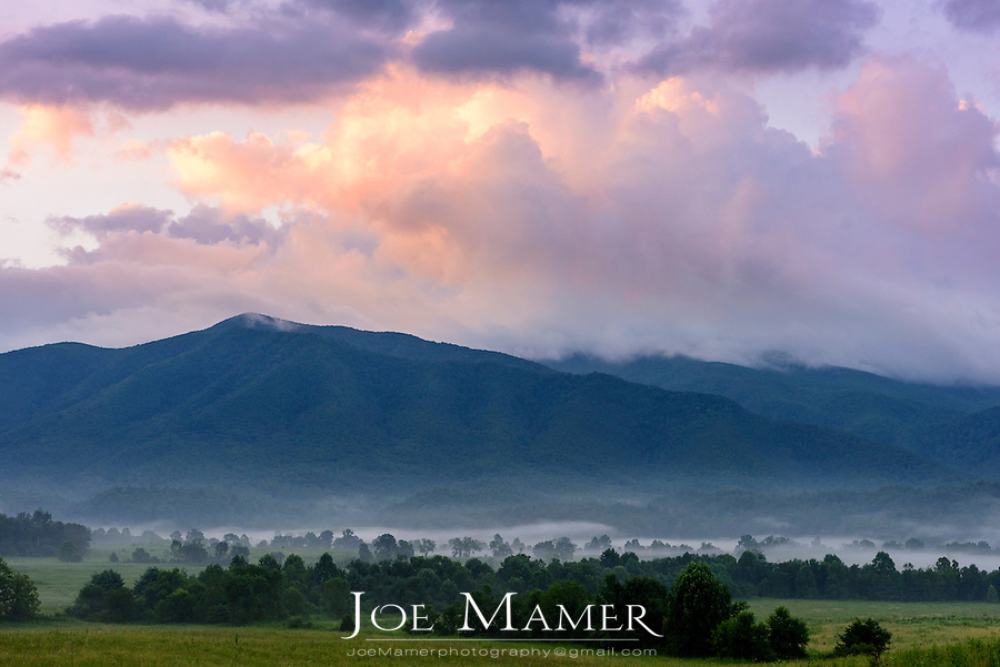 Morning view of the Great Smoky Mountains from Cades Cove with fog.