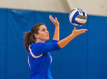 18 October 2015: Yeshiva University Maccabee Setter and Defensive Specialist Emily Rohan, a Senior from Dallas, TX, serves during game action against the Sage College Gators, at the Peter Sharp Center, College of Mount Saint Vincent, in Riverdale, NY. The Gators defeated the Maccabees 3-0 in the NCAA Division III Women's Volleyball Skyline matchup. Mandatory Credit: Ed Wolfstein Photo *** RAW (NEF) Image File Available ***