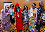 25 June, 2018, Kuala Lumpur, Malaysia : From left - Hadiqa Bashir of Pakistan, Fraidy Reiss of the USA, Aei Satu Bouba of Cameroon, Shaheen Hashmat of GNB , Nyaradzayi Gumbonzvanda of Zimbabwe and Belinda Akeyo of Kenya at the session Survivor Advocacy on the opening day at the Girls Not Brides Global Meeting 2018 at the Kuala Lumpur Convention Centre. Picture by Graham Crouch/Girls Not Brides