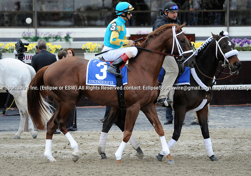 10 April 03: Eskendereya (no. 3), ridden by John Velazquez and trained by Todd Pletcher, wins the 86th running of the grade 1 Wood Memorial Stakes for three year olds at Aqueduct Race Track in Ozone Park, New York.