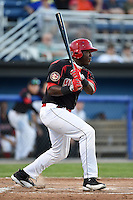 Batavia Muckdogs outfielder K.J. Woods (13) at bat during a game against the Williamsport Crosscutters on August 25, 2014 at Dwyer Stadium in Batavia, New York.  Batavia defeated Williamsport 3-0.  (Mike Janes/Four Seam Images)
