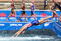 10 APR 2011 - SYDNEY, AUS - Liz Blatchford dives back into the water for the start of her second swim lap at the women's ITU World Championship Series triathlon in Sydney, Australia .(PHOTO (C) NIGEL FARROW)