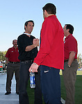 Hall of Famer John Harkes (l) congratulates U.S. goalkeeper Tony Meola (r) before Meola earned his 100th international appearance for the U.S. team on Tuesday, April 11th, 2006 at SAS Stadium in Cary, North Carolina. The United States Men's National Team tied Jamaica 1-1 in a men's international friendly.