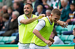 Hibs v St Johnstone...25.08.12   SPL.Shefki Kuqi clowns around as he warms up.Picture by Graeme Hart..Copyright Perthshire Picture Agency.Tel: 01738 623350  Mobile: 07990 594431