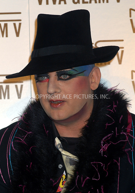 M.A.C. Cosmetics announces Boy George as spokesperson for the M.A.C. AIDS Fund's new Viva Glam V Campaign. New York, February 11, 2004. Please byline: AJ SOKALNER/ACE Pictures.   ..*PAY-PER-USE*      ....IMPORTANT: Please note that our old trade name, NEW YORK PHOTO PRESS (NYPP), is replaced by new name, ACE PICTURES. New York Photo Press and ACE Pictures are owned by All Celebrity Entertainment, Inc.......All Celebrity Entertainment, Inc:  ..contact: Alecsey Boldeskul (646) 267-6913 ..Philip Vaughan (646) 769-0430..e-mail: info@nyphotopress.com