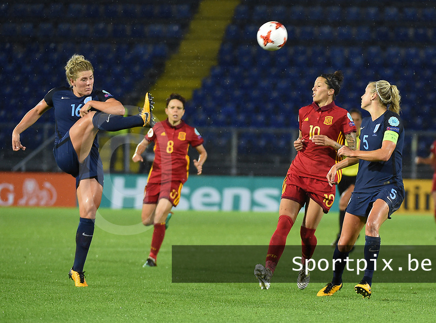20170723 - BREDA , NETHERLANDS : English Millie Bright (L) and Steph Houghton (R) with Spanish Jennifer Hermoso (10) pictured during the female soccer game between England and Spain  , the second game in group D at the Women's Euro 2017 , European Championship in The Netherlands 2017 , Sunday 23 th June 2017 at Stadion Rat Verlegh in Breda , The Netherlands PHOTO SPORTPIX.BE | DIRK VUYLSTEKE