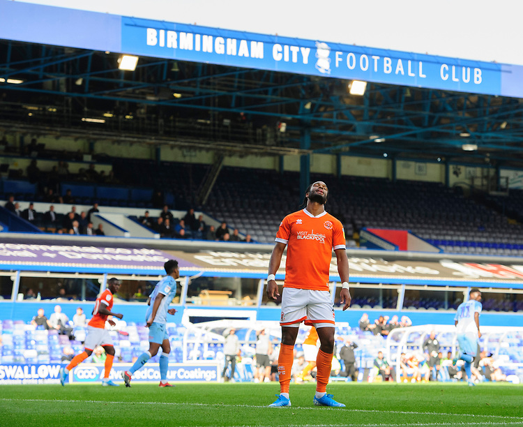 Blackpool's Nathan Delfouneso reacts after he was beaten to the ball by Coventry City's Marko Marosi<br /> <br /> Photographer Chris Vaughan/CameraSport<br /> <br /> The EFL Sky Bet League One - Coventry City v Blackpool - Saturday 7th September 2019 - St Andrew's - Birmingham<br /> <br /> World Copyright © 2019 CameraSport. All rights reserved. 43 Linden Ave. Countesthorpe. Leicester. England. LE8 5PG - Tel: +44 (0) 116 277 4147 - admin@camerasport.com - www.camerasport.com