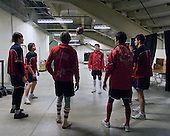 Members of Team Russia warmed up at the Urban Plains Center in Fargo, North Dakota, on Friday, April 17, 2009, prior to their game against Finland during the 2009 World Under 18 Championship.