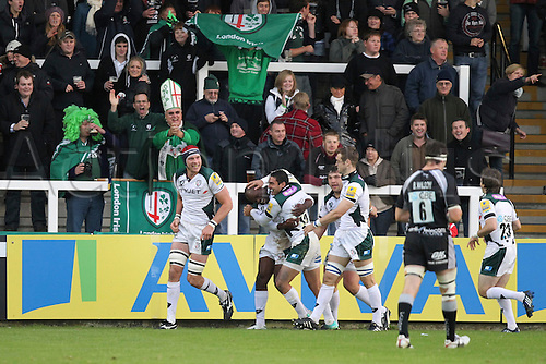25.09.2010 Topsey Ojo (London Irish) celebrates his try in the Aviva Premiership Rugby Newcastle Falcons v London Irish.