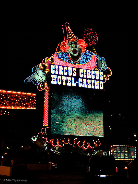 Night shot of neon sign for the Circus Hotel and Casino in USA
