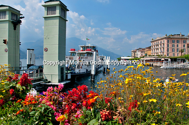A car ferry stops at Bellagio, a town on Lake Como, Italy