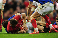 Dan Biggar of Wales scores his sides second try during the Guinness Six Nations Championship Round 3 match between Wales and France at the Principality Stadium in Cardiff, Wales, UK. Saturday 22 February 2020