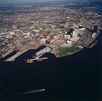 1994 March 24.Redevelopment.Downtown North (R-8)..High aerials downtown waterfront for Macarthur Center Study...NEG#.NRHA#..