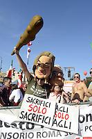 Roma, 20 Ottobre 2012.Piazza San Giovanni.Manifestazione nazionale della CGIL.Il lavoro prima di tutto.Pupazzi di Monti e Fornero