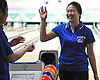 Joyce Lin of Port Washington reacts in the midst of bowling a personal-high 205 in a girls league match against Garden City at Herrill Lanes in New Hyde Park on Monday, Dec. 19, 2016.