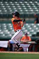 Baltimore Orioles shortstop Clay Fisher (78) follows through on a swing during a Florida Instructional League game against the Pittsburgh Pirates on September 22, 2018 at Ed Smith Stadium in Sarasota, Florida.  (Mike Janes/Four Seam Images)