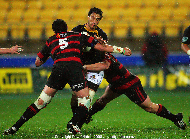 Isaac Ross and Corey Flynn double-team Tane Tu'ipulotu during the Air NZ Cup Final between Wellington and Canterbury at Westpac Stadium, Wellington, New Zealand on Saturday 25th October 2008.  Photo: Dave Lintott / lintottphoto.co.nz