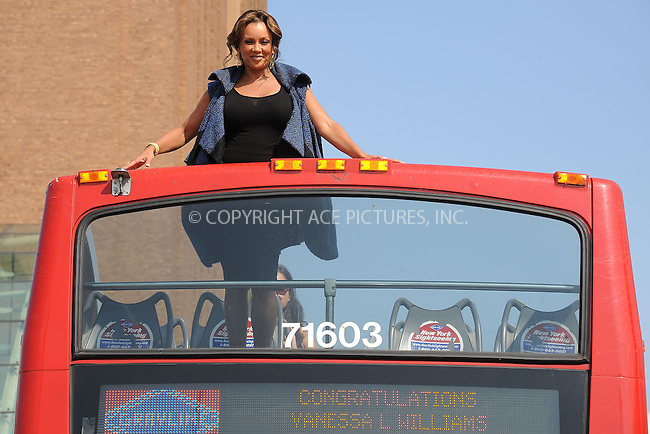 WWW.ACEPIXS.COM . . . . . .September 27, 2012...New York City....Actress and singer Vanessa Williams is honored by Gray Line New York in Ride of Fame campaign on September 27, 2012 in New York City. ....Please byline: KRISTIN CALLAHAN - WWW.ACEPIXS.COM.. . . . . . ..Ace Pictures, Inc: ..tel: (212) 243 8787 or (646) 769 0430..e-mail: info@acepixs.com..web: http://www.acepixs.com .