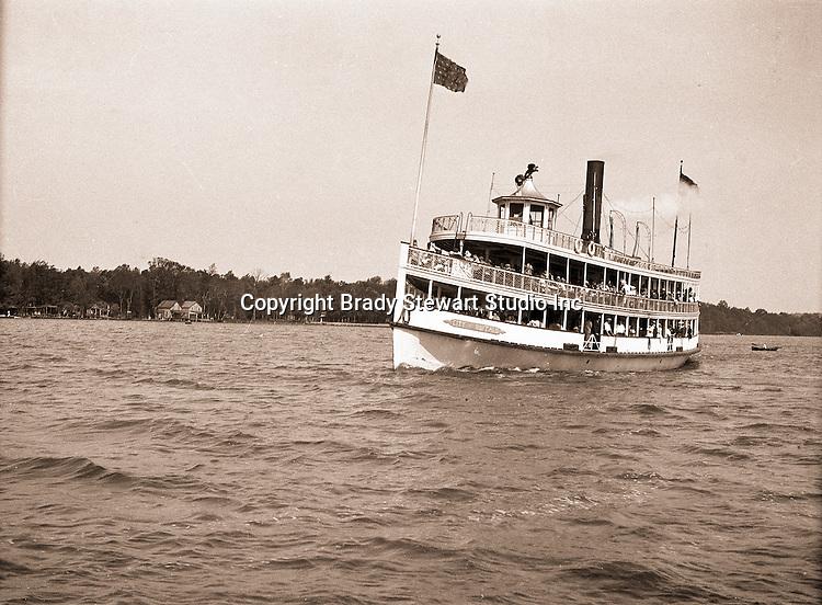 Lake Chautauqua NY:  City of Buffalo Ferry arriving at the Bemus Point Pier - 1901