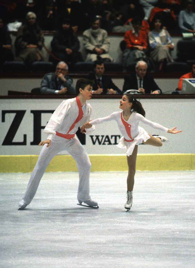 Sergei Grinkov and Ekaterina Gordeeva of Soviet Union perform in pairs competition on way to winning their first gold at World Championships in March, 1986 at Geneva, Switzerland.. (Photo by Tom Theobald)