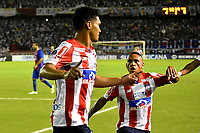 BARRANQUIILLA - COLOMBIA, 19-09-2017: Teofilo Gutierrez del Atlético Junior de Colombia celebra después de anotar el tercer gol de su equipo a Cerro Porteño de Paraguay durante partido de vuelta por los octavos de final, llave 5, de la Copa CONMEBOL Sudamericana 2017  jugado en el estadio Metropolitano Roberto Meléndez de la ciudad de Barranquilla. / Teofilo Gutierrez player of Atlético Junior of Colombia celebrates after scoring the second goalof his team to Cerro Porteño of Paraguay during second leg match for the eight finals, key 5, of the Copa CONMEBOL Sudamericana 2017played at Metropolitano Roberto Melendez stadium in Barranquilla city.  Photo: VizzorImage/ Alfonso Cervantes / Cont