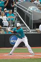 University of Coastal Carolina Chanticleers outfielder Billy Cooke (17) at bat during a game against the University of Virginia Cavaliers at Springs Brooks Stadium on February 21, 2016 in Conway, South Carolina. Coastal Carolina defeated Virginia 5-4. (Robert Gurganus/Four Seam Images)