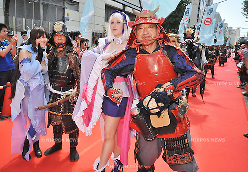 """August 3, 2013, Nagoya, Aichi, Japan : Participants march during the red carpet ceremony for the """"World cosplay summit 2013"""" in Nagoya, Aichi prefecture, Japan, on August 3, 2013. (Photo by AFLO)"""