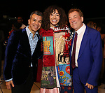 Afra Hines with Sergio Trujillo and Des McAnuff during the Opening Night Actors' Equity Gypsy Robe Ceremony honoring  Afra Hines for 'Summer:The Donna Summer Musical at Lunt-Fontanne Theatre on April 23, 2018 in New York City.