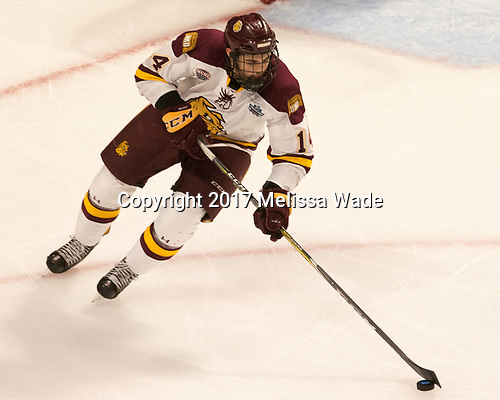 Alex Iafallo (UMD - 14) - The University of Minnesota Duluth Bulldogs defeated the Harvard University Crimson 2-1 in their Frozen Four semi-final on April 6, 2017, at the United Center in Chicago, Illinois.