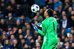 Keylor Navas of Real Madrid in action during the match of Champions League between Real Madrid and SSC Napoli  at Santiago Bernabeu Stadium in Madrid, Spain. February 15, 2017. (ALTERPHOTOS)