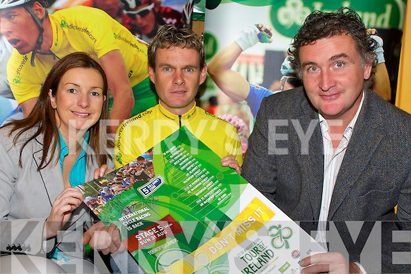 Kerry cyclist Paul Griffin with Justine White, Failte Ireland and Michael Concannon, honourary President Cycling Ireland,  at the launch of the two Kerry stages in the Tour of Ireland, in the Ashe Memorial Hall on Wednesday.   Copyright Kerry's Eye 2008