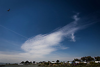 Clouds float in a blue sky over a marina.  With imagination, one can see an enormous fish, pierced by a single straight line, its tail a vertical line through imagined streaks of rippled water.