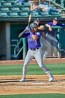 Yonathan Daza (2) of the Albuquerque Isotopes bats against the Salt Lake Bees at Smith's Ballpark on April 27, 2019 in Salt Lake City, Utah. The Isotopes defeated the Bees 10-7. This was a makeup game from April 26, 2019 that was cancelled due to rain. (Stephen Smith/Four Seam Images)