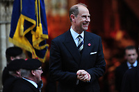 Pictured: Prince Edward, Earl of Wessex leaves Llandaff Cathedral, Cardiff, Wales, UK.  Sunday 11 November 2018<br /> Re: Commemoration for the 100 years since the end of the First World War on Remembrance Day at the Llandaff Cathedral, in Llandaff, Cardiff, Wales, UK.